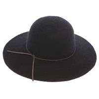 Wool Felt Wide Brim Fall Hat with Leather Tie - Black