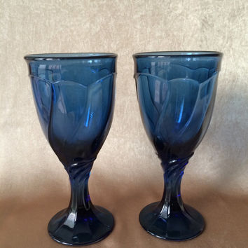 Cobalt Blue Glasses, Noritake Sweet Swirl, Two Wine Glasses, Deep Midnight Blue,