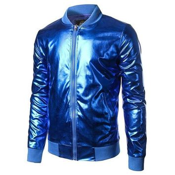 Metallic Blue Bomber Jacket
