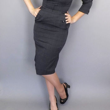 Vintage 1960s Heather Gray All Silk Dress Party Cocktail Wiggle Mad Men Sexy Elegant Vogue Couture Fitted Joan Holloway