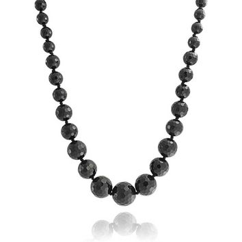 Black Onyx Graduated Bead Strand Necklace Silver Plated Clasp