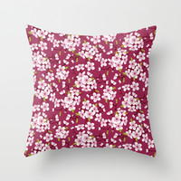 Cherry Blossoms Pattern Throw Pillow by AnastasiaDesign