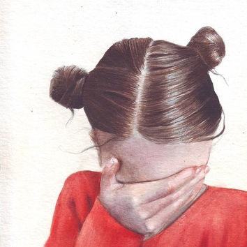 HM085 Original art watercolor painting young girl emotions by Helga McLeod