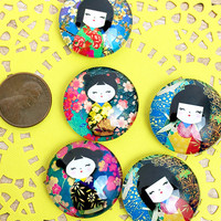 Set of Five Geisha Magnets, Japan, Folk, Cute, Girls, Heritage, Fun, Glass Cabochon Magnets, Christmas, Birthday, Office, Housewarming Gift