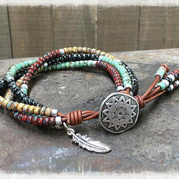 Beaded Wrap Bracelet/ Native American Wrap Bracelet/ Men's Leather Wrap  Bracelet/ Seed Bead Bracelet/ Southwestern Leather Wrap Bracelet.