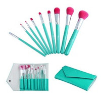 Professional 9pcs Facial Beauty Makeup Cosmetic Brushes Set + Leather Bag (Color: Green) [8321422791]