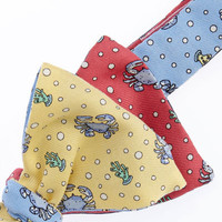 Mens Bow Ties: Crab Four Panel Silk Bow Tie - Vineyard Vines