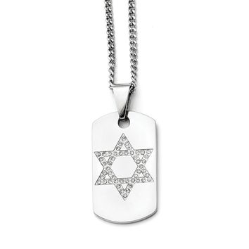 Stainless Steel Star of David CZ Dog Tag Polished Necklace
