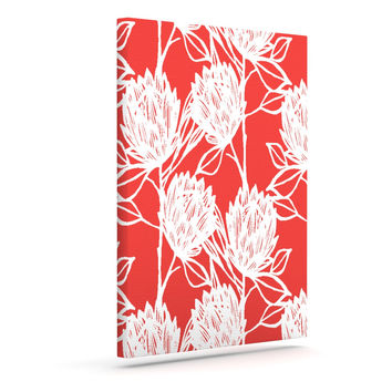 """Gill Eggleston """"Protea Strawberry White"""" Red Flowers Outdoor Canvas Wall Art"""