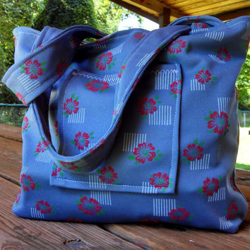 Tote Bag / Purse /  Durable Vintage Polyester / Medium Size Everyday Tote Bag Purse / Blue White Muted Red / Birthday Gift / College Purse