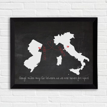 Framed Personalized map , long distance love, friendship, gift , wall art , personalized illustration, home decor, wedding decor, gift