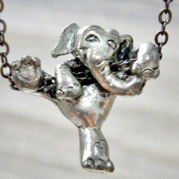 Can Do: climbing elephant necklace, empowerment charm, inspirational jewelry