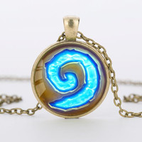 Unisex World of Warcraft Round Glass Pendant Necklace
