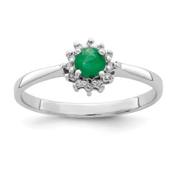 Sterling Silver 4mm Round Genuine Emerald and Diamond Halo Ring