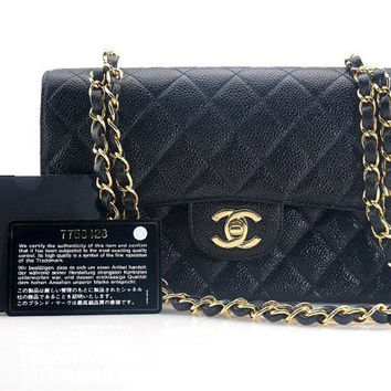 CHANEL Authentic Vintage Classic Double Flap Cavier Skin Black Matelesse Shoulder Bag