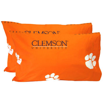 NCAA Clemson Tigers Pillowcases Two-Pack Orange Set