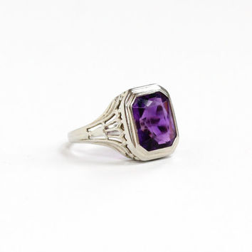 Antique 14k White Gold Amethyst Filigree Ring - Vintage Art Deco 1920s 1930s Purple Emerald Cut Gemstone Fine Statement Floral Jewelry