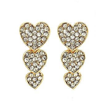 Gold Three Heart Earrings
