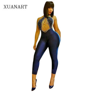 Summer New Sexy Blue Bodycon Women Jumpsuit Backless Beading Halter Neck Top Long Pants Ladies Jumpsuit Romper