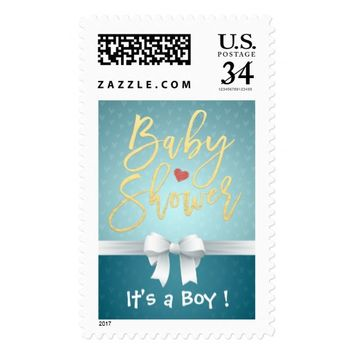 Gold Script Turquoise White Ribbon Baby Shower Postage
