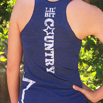 "Lil' bit country - Women's Racer Back Tank top - ""Tri-Indigo"" and white ink"