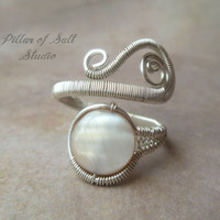 wire wrapped jewelry handmade, sterling silver filled Wire Wrapped Ring, adjustable ring, sterling silver ring, taupe mother of pearl