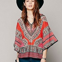 Free People Womens FP New Romantics Dashiki Tee - Cherry, XS
