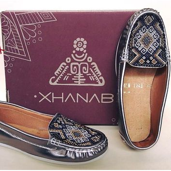 New Leather Flats Loafers with Huichol Beaded Design Handmade