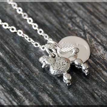Silver Poodle Charm Necklace, Initial Charm Necklace, Personalized Necklace, Poodle Pendant, Dog Lover Charm, Poodle Jewelry