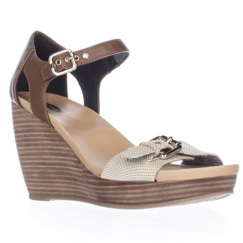 Dr. Scholl's Molten Wedge Ankle Strap Sandals, Totally Taupe, 9.5 US / 39.5 EU