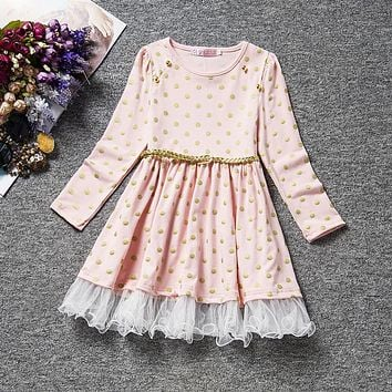 Toddler Girls Clothing Girl Polka Dots Dress Children's Princess Dress Long Sleeve Autumn Fall Wear Winter Girls Clothes