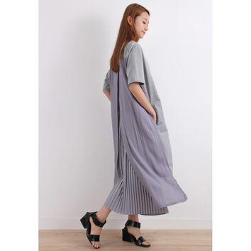 High-Low Chiffon Back T-Shirt Dress (BT01941-GRY)