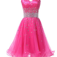Hot Pink Short Women's Formal Dress - Bridesmaids - Prom - Party - Brides & Bridesmaids - Wedding, Bridal, Prom, Formal Gown