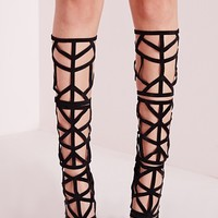 Missguided - Laser Cut Knee High Heeled Sandals Black