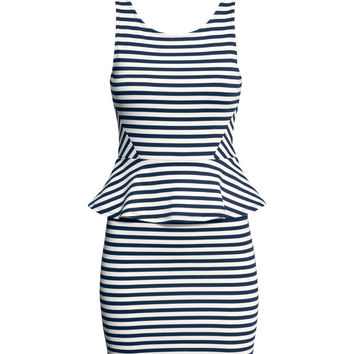 H&M - Peplum Dress - Dark blue/striped - Ladies