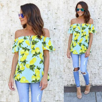 Women Fashion Cute Summer Newly Short Sleeve Off Shoulder Slash Neck Pullover Print Chiffon Blouse Tops