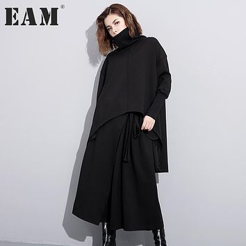 [EAM] 2017 new autumn solid color high collar long sleeve black irregular loose big size dress women fashion tide JC74501