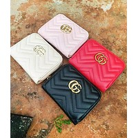 GUCCI Fashion New Popular Women Leather Simple Metal Zipper Purse Wallet