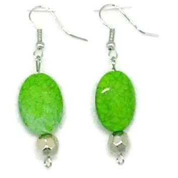 Green Marbled Oval with Small Silver Faceted Round Beaded Earrings