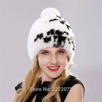 Natural color fur cap female Rex rabbit hat health hat winter cap cap