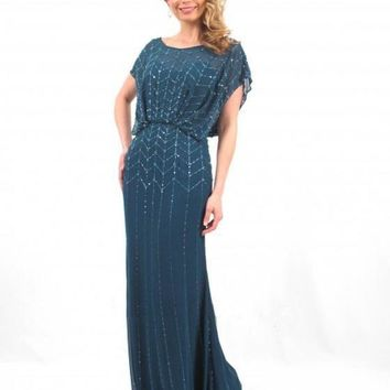 Daymor Couture - 665 Beaded Scoop Neck Blouson Long Dress