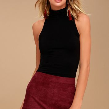 Shenandoah Burgundy Suede Mini Skirt