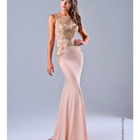 Nina Canacci 7524 Peach Sheer Bodice Dress 2015 Prom Dresses