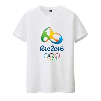 Commemorative Tees Rio 2016 Olympic Games Round Neck T-Shirt-Medium White