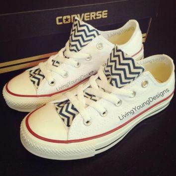DCCKHD9 Chevron Custom Converse Navy Blue White by LivingYoungDesigns