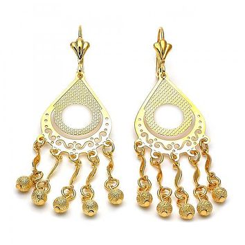 Gold Layered 086.002 Long Earring, Teardrop and Ball Design, Matte Finish, Gold Tone