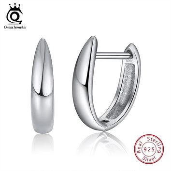 ORSA JEWELS Women Real 925 Sterling Silver Hoop Earrings Perfect Polished Cute Small Fashion Earring Jewelry Gift For Girl SE76