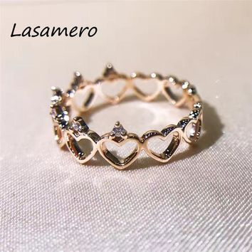 LASAMERO Ring For Women 0.2ct Certified Heart to heart Shape Ring Accents 18k Gold Real Diamond Engagement Wedding Ring