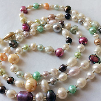 Baroque pearl necklace colored pearl necklace freshwater pearl necklace boho pearls