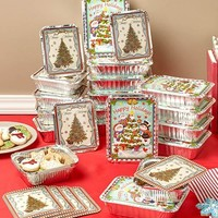 Christmas Food Storage Gift Containers Holiday Cookie 24 Pce Set Aluminum